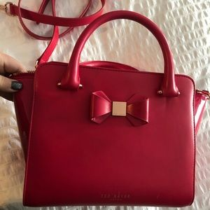 Ted Baker hot pink bag with rose tone hardware